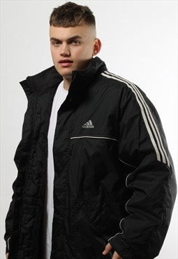 Vintage Adidas Black Full Zip Padded Coat with White Trim