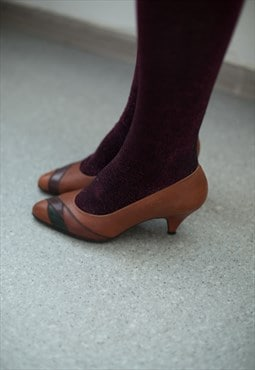 Vintage 90's Brown Leather Patches Mid-Heeled Shoes