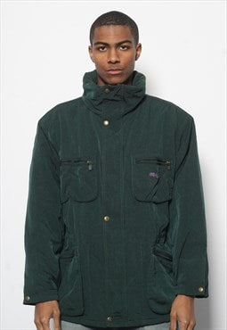 Vintage Fila Magicline Quilted  Logo Jacket Green