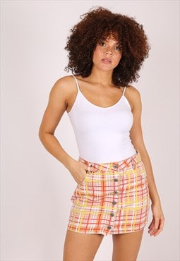 Clueless mini denim skirt in yellow check
