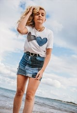 T-Shirt In White With Double Denim Love Hearts