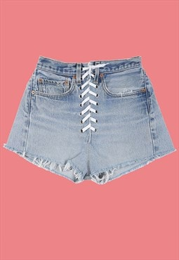 Lita Reworked Vintage Levis Lace Up Denim High Waist Shorts