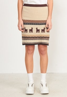 Vintage Beige Wool Mini Skirt Lama