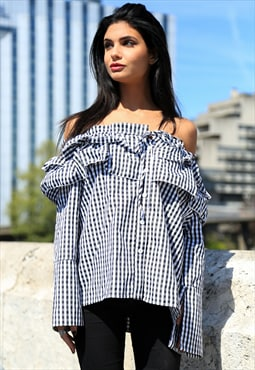 Ruffled Gingham Off-the-Shoulder Top