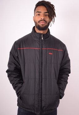 Fila Mens Vintage Padded Jacket Large Black 90s