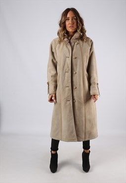 Sheepskin Suede Leather Shearling Coat UK 16 (B9DD)