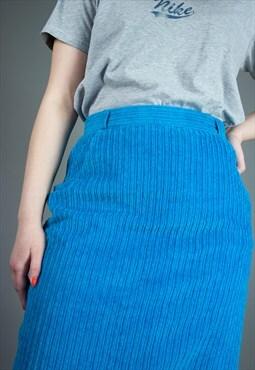 Vintage 80s corduroy pencil skirt in blue