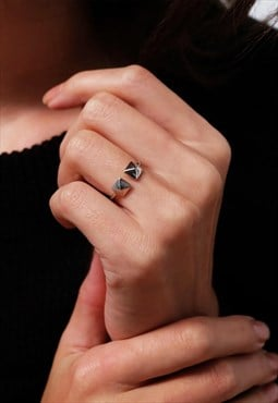 Double Square Sterling Silver Ring