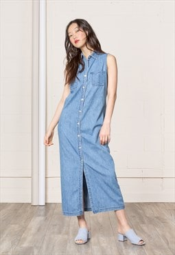 DENIM sleeveless MAXI dress festival Collared spring 90'S