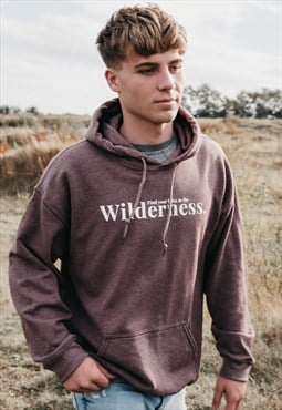 'Wilderness' Mens Hoodie in Heather Plum