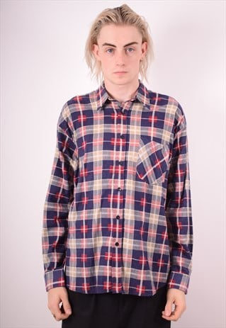 MENS VINTAGE FLANNEL SHIRT LARGE MULTI CHECK 90S