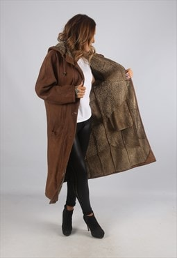 Vintage Sheepskin Leather Shearling Coat Long Hooded (J9BU)