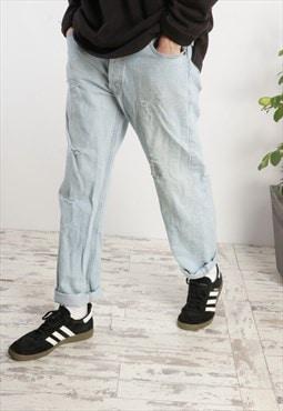 Vintage Levi's 501 Distressed Jeans in light wash denim X170
