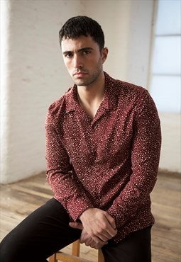 bound 'Russet' patterned long-sleeve shirt in maroon