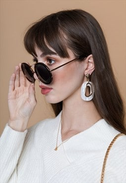 Oversized Circle Sunglasses Black