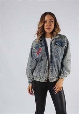 Vintage Denim Bomber Jacket Acid Wash UK 8 - 10 (9EAA)