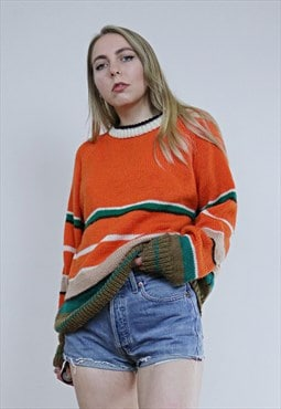 Vintage 70's Handmade Striped Orange Chunky Jumper