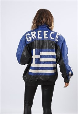 Leather Bomber Jacket GREECE UK 16 (HH3E)