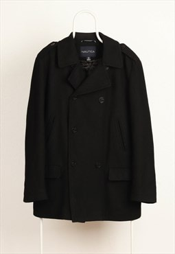 Vintage Nautica Notch Lapel Wool Coat Black