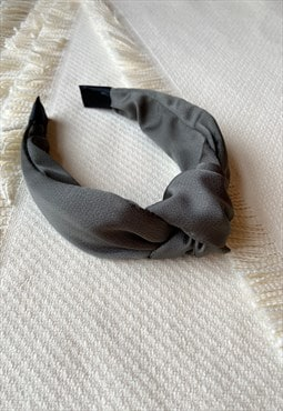 Knot Headband in Khaki Satin