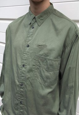 Mens Vintage 90s shirt long sleeved khaki green top