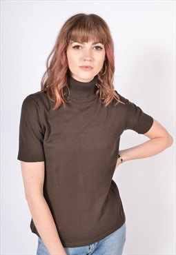 Vintage 90's Ribbed High Neck Short Sleeve Top Brown