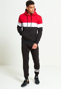 Mens Red Tracksuit With Contrasting Panel Detailing
