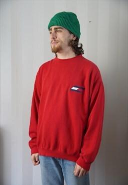 Vintage 90s Tommy Hilfiger logo crewneck sweatshirt red