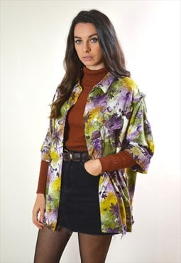 1990s Vintage Purple & Green Flower Abstract Printed Shirt