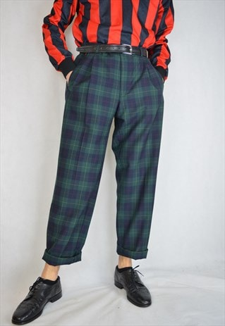 VINTAGE CHECKERED TWO COLOUR STRAIGHT CLASSIC TROUSERS