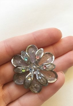 Womens Vintage Brooch flower silver colour gem pin badge