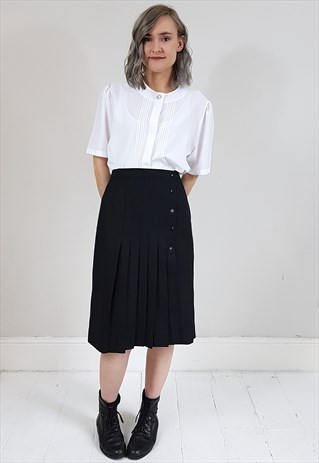 VINTAGE 80'S BLACK PLEATED SIDE BUTTON WRAP SKIRT