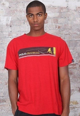 Vintage Polo Jeans Basketball Logo T-Shirt Red