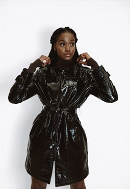PVC Tie Waist Raincoat Mac in Black