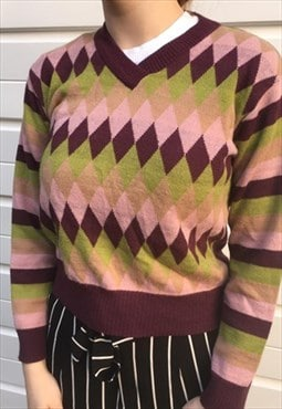 Womens Vintage 80s 90s jumper diamond patterned sweater