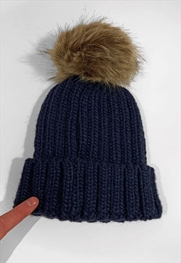 Contrast Faux Fur Bobble Knitted Ribbed Beanie Hat - Navy