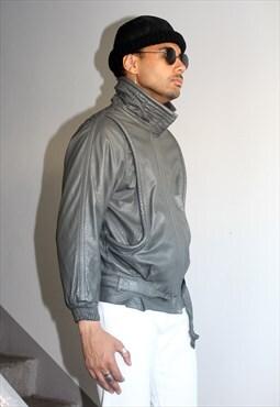 Vintage 80s Blade Runner Grey Leather Jacket