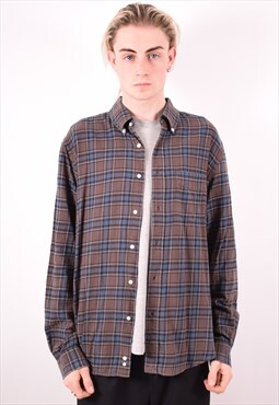 Mens Vintage Shirt Large Grey Check 90s