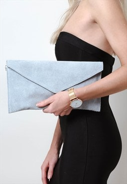 Light Grey Suede Envelope Clutch Bag