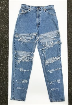 Vintage 80's High Waist Shredded Mom Jeans