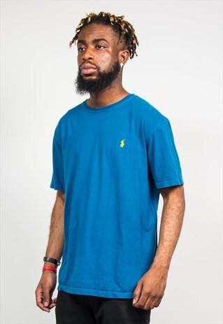 RALPH LAUREN 90'S TEAL BLUE CREW NECK T-SHIRT