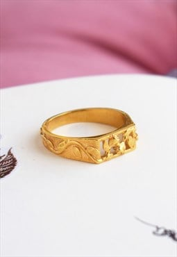 Gold Rose Rectangle Signet Ring Handmade