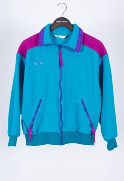 Vintage 80s Retro Turquoise Zip Fleece Columbia