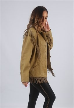 Vintage Leather Tassel Jacket Fringe UK 12 M  (K2W)