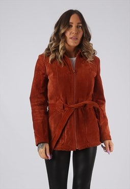 Suede Leather Faux Sheepskin Coat Short Mid UK 6 - 8 (KDM)