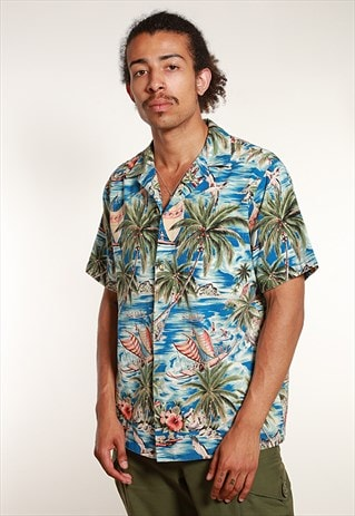 70'S HAWAIIAN SHORT SLEEVED SHIRT - M