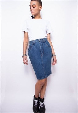 Vintage 90s Krizia Jeans Pencil Denim Skirt ID:8062
