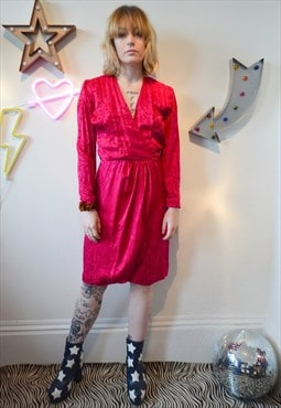 Vintage 80's Pink Satin Wrap Dress w/ Long Sleeves