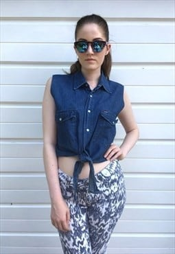 Womens vintage 80s top blue denim shirt tie front crop top