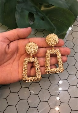Gold Retro Style Statement Earrings